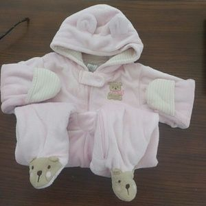6 Month One Piece Hooded Pink Bear Girl Jumpsuit